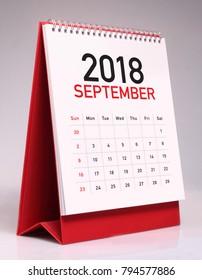 Simple desk calendar for September 2018