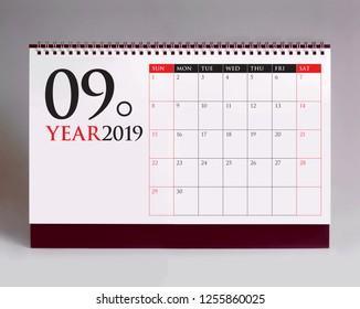 Simple desk calendar for September 2019