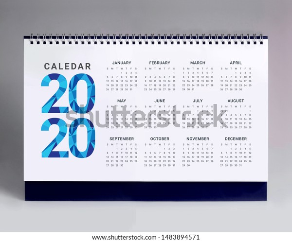 Simple desk calendar for year 2020