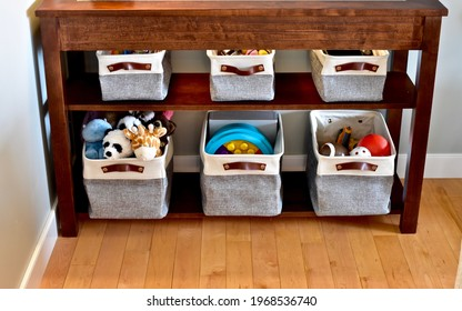 Simple easy storage baskets for living and bedroom toy clean up, neat and tidy small space living. Photo background, organization ideas, lifestyle.