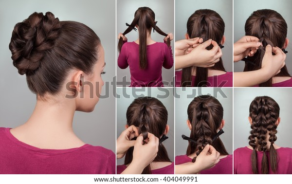 Simple Elegant Hairstyle Bun Long Medium Stock Photo Edit Now