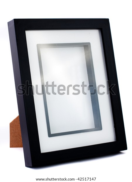 Simple empty and black photo frame. Isolated on white