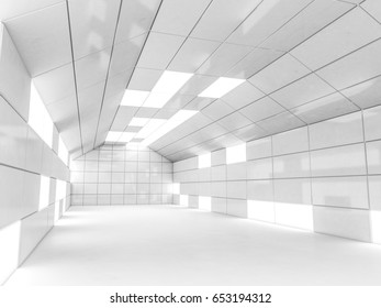 Simple empty room interior with lamps. 3D rendering