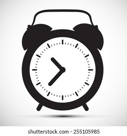 Simple Flat Design Alarm Clock Icon Illustration