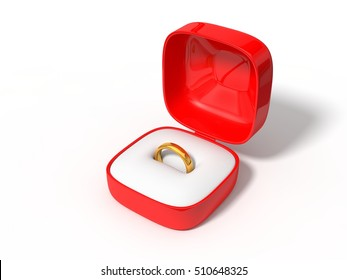 simple golden ring in red box. isolated on white. 3d illustration.