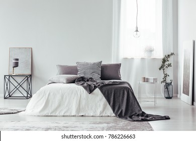 Simple, gray and white bedroom interior with blanket and pillows on king size bed, bright window and posters