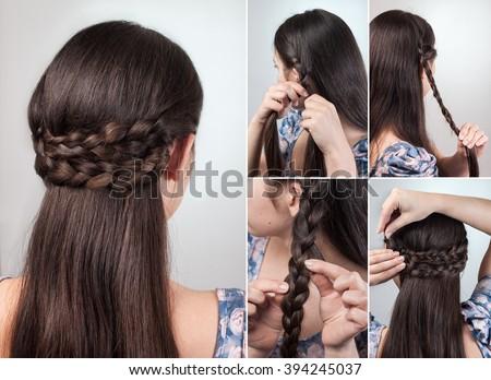 Simple Hairstyle Long Medium Hair Tutorial Stock Photo Edit Now
