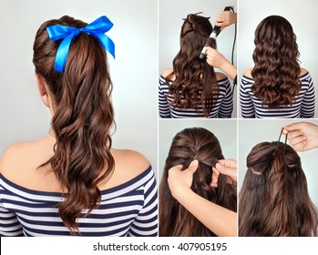 simple hairstyle pony tail on curly hair tutorial