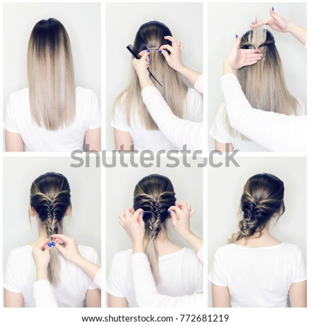 Simple Hairstyle Volume Plait On Straight Stockfoto Jetzt