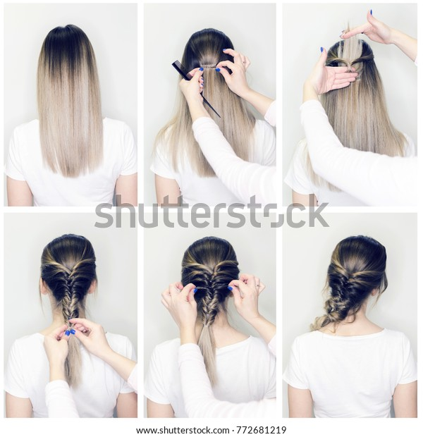 Simple Hairstyle Volume Plait On Straight Stock Photo Edit