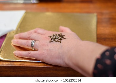 Simple Mehndi Tattoo Hands : Simple henna tattoo created international charity stock photo