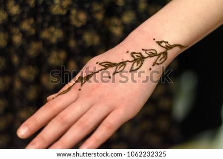 Simple Henna Tattoo Created International Charity Stock Photo Edit