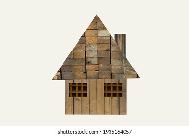 simple home, cottage, lodge, log cabin collage oil painting texture christmas house triangle design tartan windows degrade colors, geometric simple wooden bushcraft concept, winter, autumn
