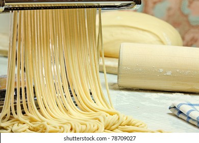 Simple homemade noodles and pasta machine.