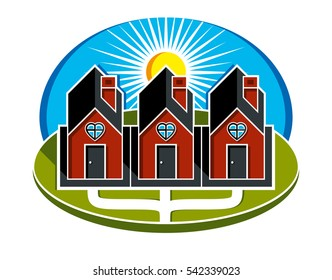Simple houses with pathway leading to them. Family harmony at home, love and relationship idea. Three buildings with heart symbol.