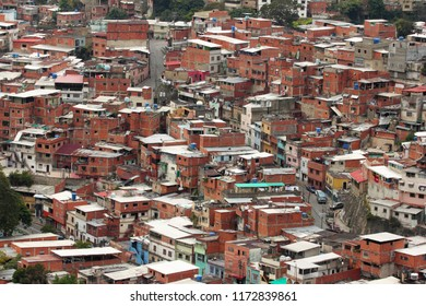 Simple houses or ranchos in Caracas, Venezuela. Ranchos are the forms of informal poor housing that cover the hills surrounding the city. Clusters of self-built ranchos form larger neighbourhoods