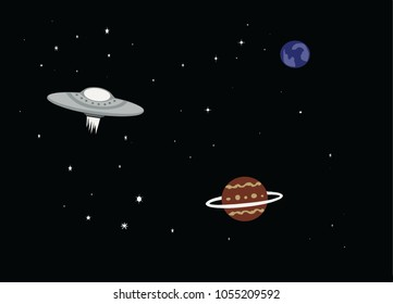 Simple illustration of a UFO spaceship in space with planets.