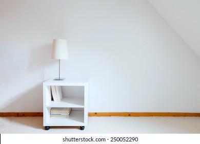 simple interior of white room