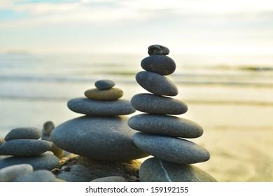 Simple Inuksuk - pebble arrangement at the Pacific Ocean