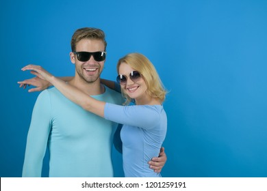 Simple joy of loving. Love relations. Couple in love. Couple of man and woman wear fashion glasses. Fashion models in trendy sun glasses. Friendship day. Friendship relations. Fresh sight, copy space.