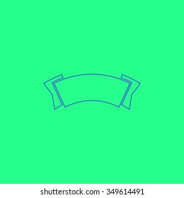 Simple label. Simple outline illustration icon on green background