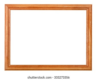 simple lacquered narrow wooden picture frame with cut out blank space isolated on white background