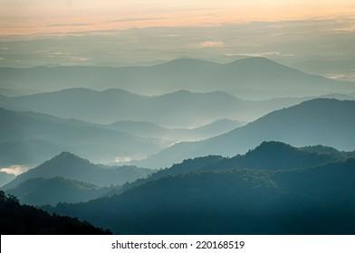 The simple layers of the Smokies at sunset - Smoky Mountain Nat. Park, USA.