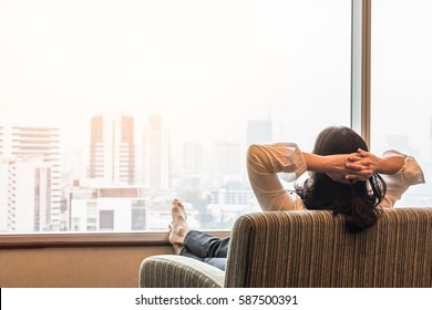 Simple lifestyle business woman relaxing and take it easy in hotel room in the morning