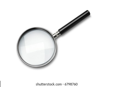 A simple magnifying glass over white background