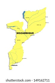 Simple map of Mozambique