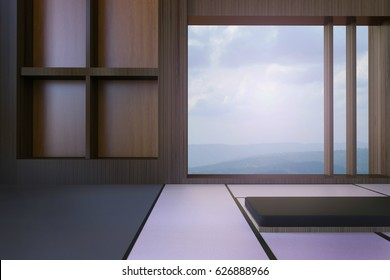 Simple Modern Japanese living room and Minimal window frame and views of mountains and sky / 3d rendering