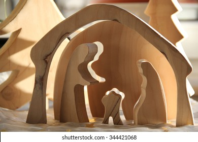 simple Nativity scene made of pinewood