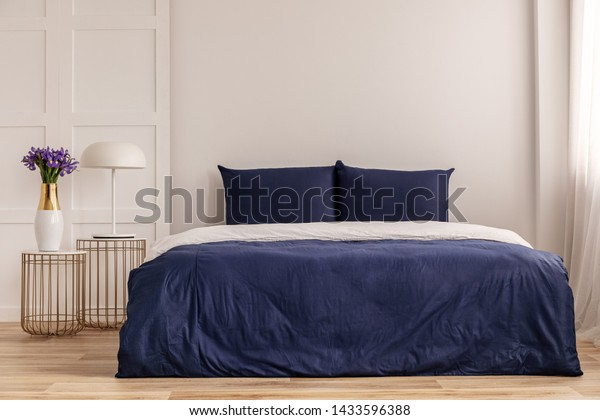 Simple Navy Blue White Bedroom Interior Stock Photo Edit Now 1433596388