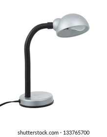 Simple office desk lamp isolated on white background.