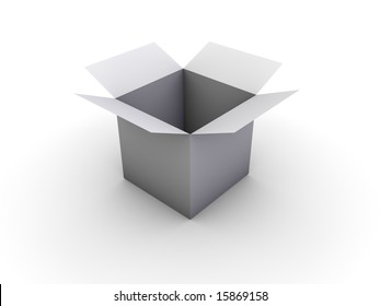 An simple open box on white background