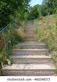 a simple outdoor stairway in a park