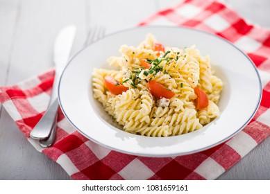 simple pasta dish with fusilli