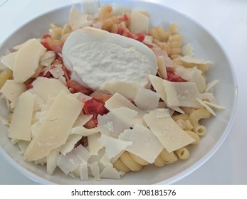 Simple Pasta with Homemade Tomato Sauce, Mozzarella, and Shaved Parmasean