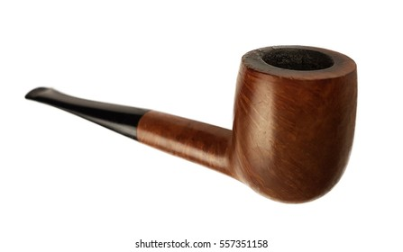 Simple pipe made of wood on white background