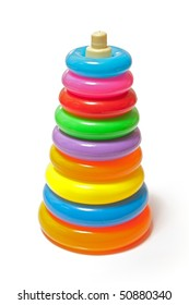 Simple plastic baby toy: stacked colorful rings