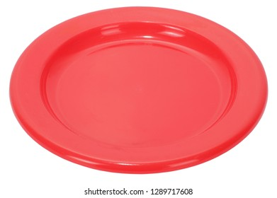 Simple plastic empty red plate