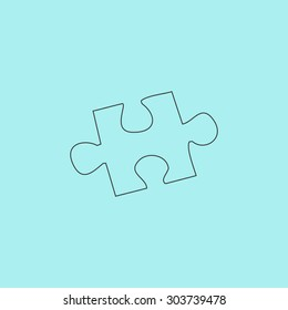 Simple puzzle. Outline simple flat icon isolated on blue background