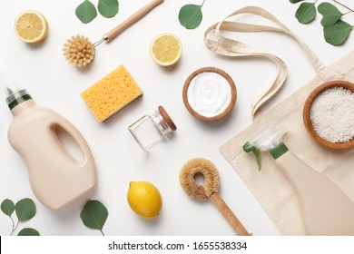 Simple recipes homemade. zero waste detergent, household chemicals sponge, lemon, salt on white background, flat lay, top view