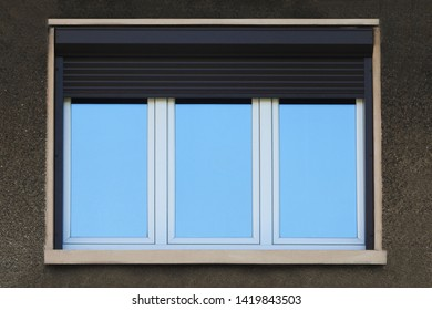 Simple rectangle windows on a city building