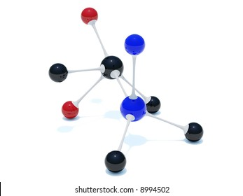 Simple red, blue and black molecule isolated on white