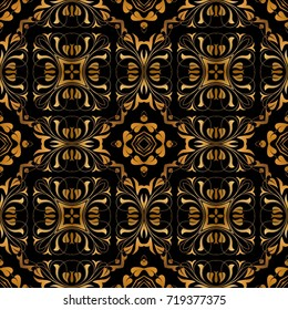 Simple regal pattern with beautiful symmetric ornate and black, golden color