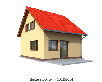 Simple render of house in perspective on a white background