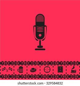 Simple retro microphone. Black flat illustration pictogram and bonus icon - Racing flag, Beer mug, Ufo fly, Sniper sight, Safe, Train on pink background