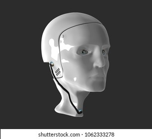 Simple robot head 3d illustration