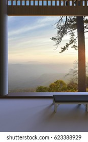 Simple room with big windows Open Nature views park and Sky Evening Background / 3d rendering